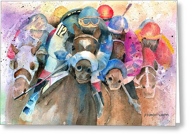 Race Horse Greeting Cards - Frantic Finish Greeting Card by Arline Wagner