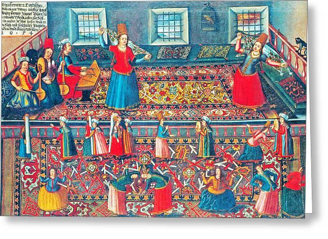 Red Photographs Paintings Greeting Cards - Franz Hermann Turkish Harem Greeting Card by Munir Alawi