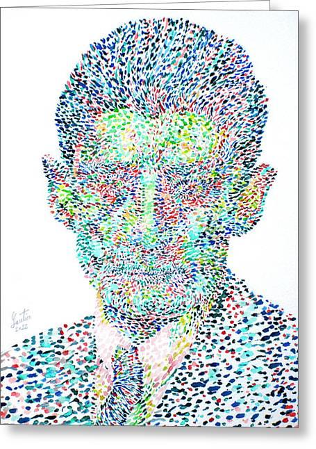 Franz Kafka Greeting Cards - Franz Kafka Watercolor Portrait.1 Greeting Card by Fabrizio Cassetta