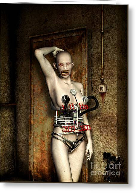 Freaks - The First Girl In The Basment Greeting Card by Luca Oleastri