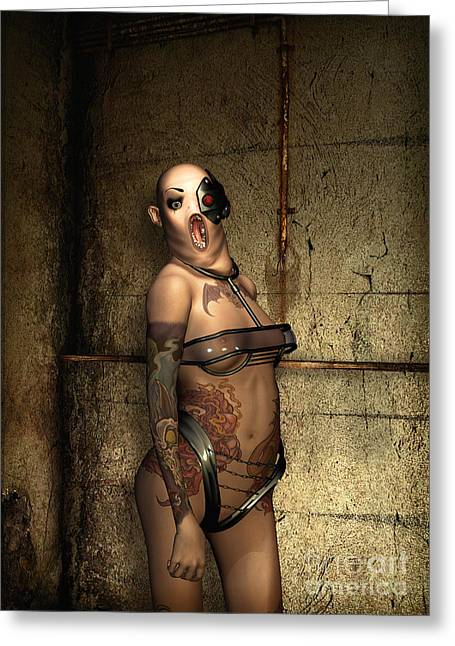 Nude Metal Greeting Cards - Freaks - The Second Girl in the Basment Greeting Card by Luca Oleastri