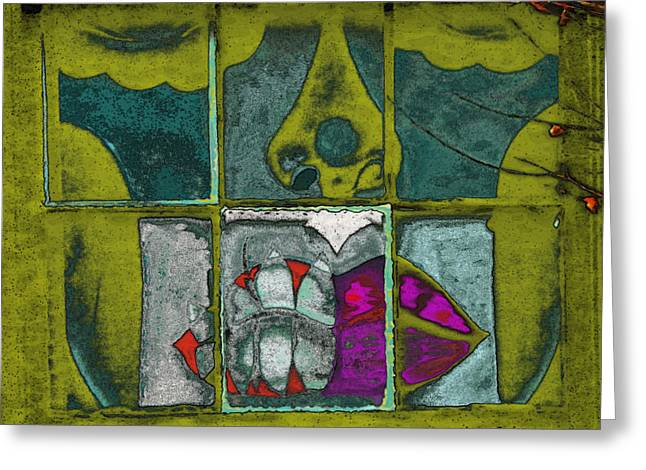 Abstract Expressionist Greeting Cards - Freaky Greeting Card by Lenore Senior