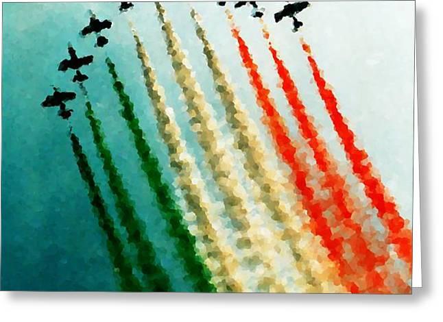 Frecce Tricolori Greeting Card by Andrea Barbieri