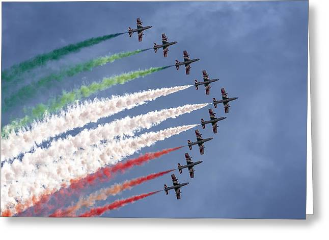 Frecce Tricolori Greeting Card by Hernan Bua