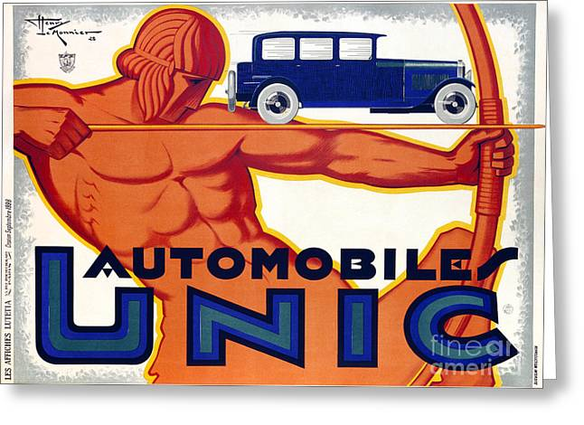 Royal Blue Greeting Cards - Frech Automobile Advertisement Greeting Card by Jon Neidert