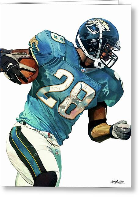Fred Taylor Jacksonville Jaguars Greeting Card by Michael Pattison