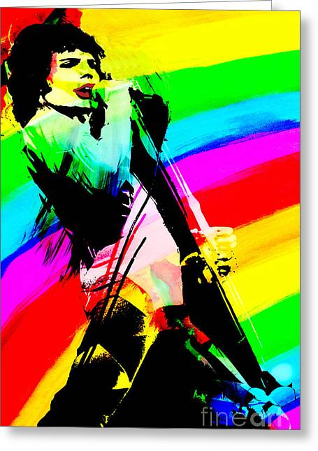 British Celebrities Greeting Cards - Freddie Mercury Greeting Card by Gary Keesler