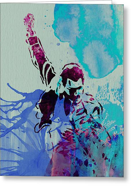 Stage Greeting Cards - Freddie Mercury Greeting Card by Naxart Studio