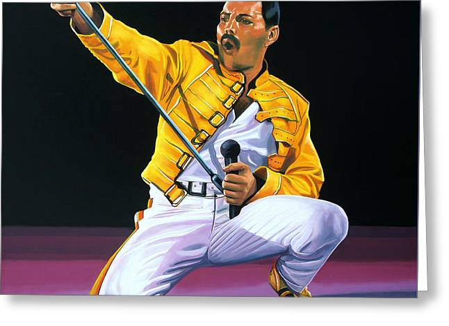 Made Greeting Cards - Freddie Mercury Live Greeting Card by Paul  Meijering