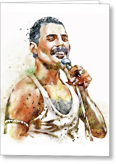 Mustaches Digital Greeting Cards - Freddie Mercury Greeting Card by Marian Voicu