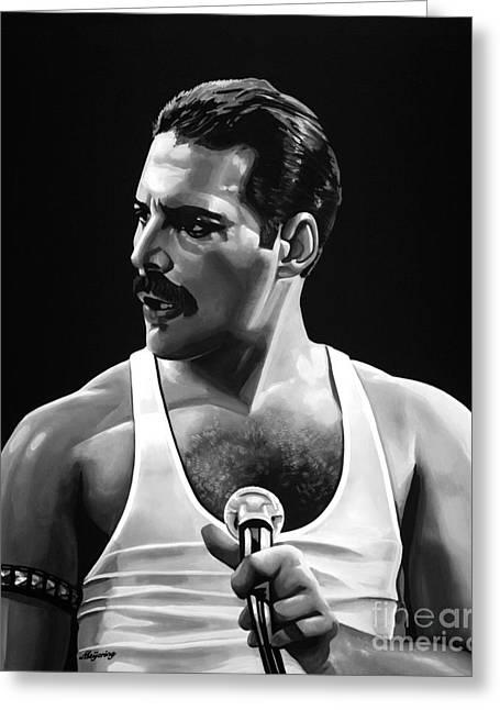 Superstar Mixed Media Greeting Cards - Freddie Mercury  Greeting Card by Meijering Manupix