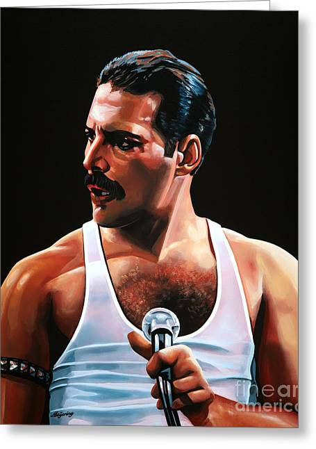 Realistic Greeting Cards - Freddie Mercury Greeting Card by Paul Meijering