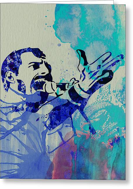 Stage Greeting Cards - Freddie Mercury Queen Greeting Card by Naxart Studio