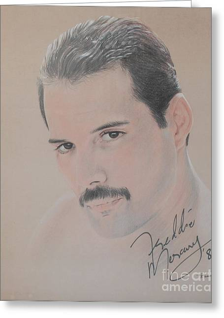 Signed Drawings Greeting Cards - Freddie Mercury Signed  Greeting Card by John Sterling