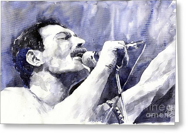 Watercolor Paper Greeting Cards - Freddie Mercury Greeting Card by Yuriy Shevchuk