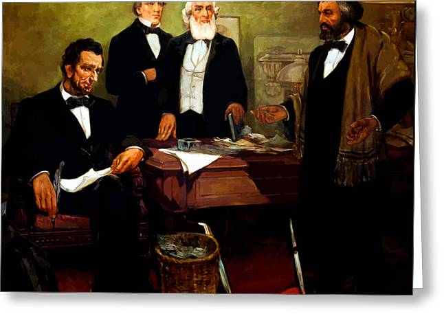 Frederick Douglass Greeting Cards - Frederick Douglass appealing to President Lincoln Greeting Card by War Is Hell Store