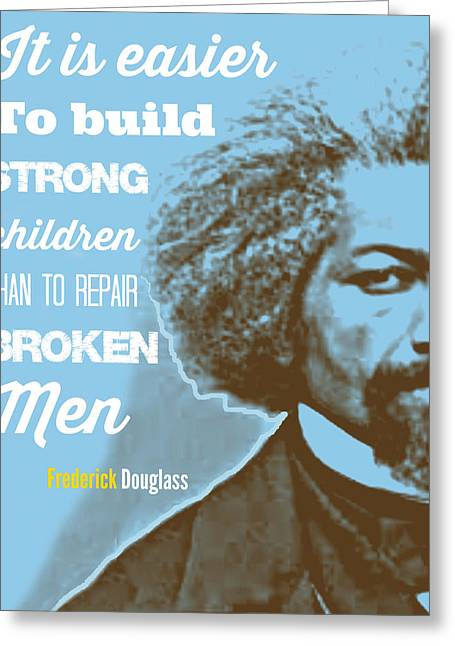 Douglass Digital Greeting Cards - Frederick Douglass Blue Greeting Card by Millian Glenn