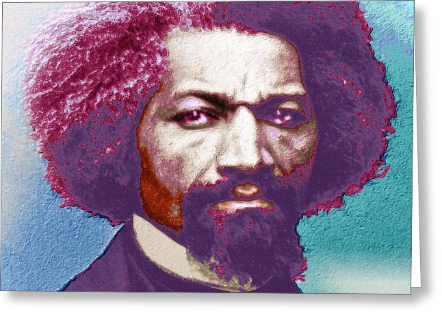 Frederick Douglass Painting In Color Pop Art Greeting Card by Tony Rubino