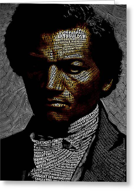 Douglass Greeting Cards - Frederick Douglass Word Mosaic Greeting Card by Hans Fleurimont