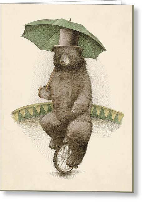 Umbrella Drawings Greeting Cards - Frederick Greeting Card by Eric Fan