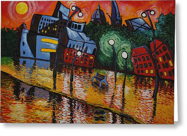 Warp Paintings Greeting Cards - Fredericton At Dusk Greeting Card by Kris LeBlanc