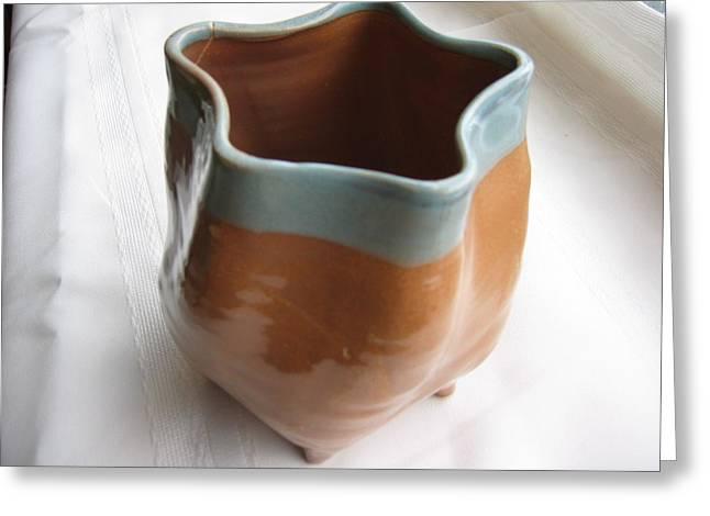 Free-form Ceramics Greeting Cards - Free-form Pentagon Vase  Greeting Card by Julia Van Dine