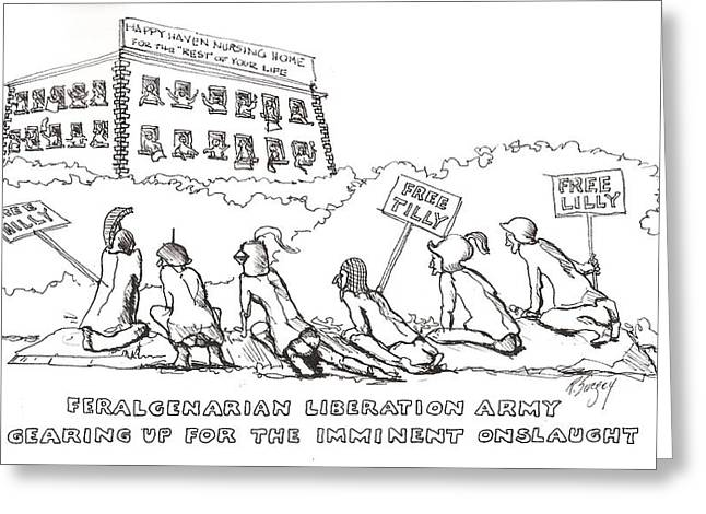 Liberation Drawings Greeting Cards - Free Milly Greeting Card by R  Allen Swezey