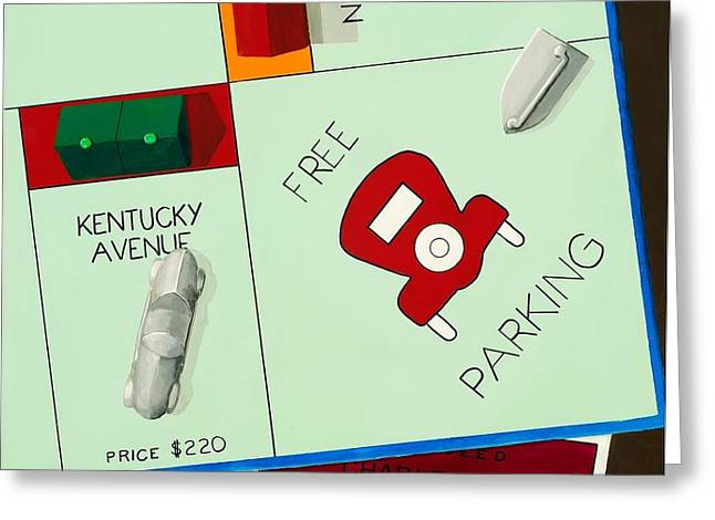 Monopoly Greeting Cards - Free Parking Greeting Card by Cheryl Parsons