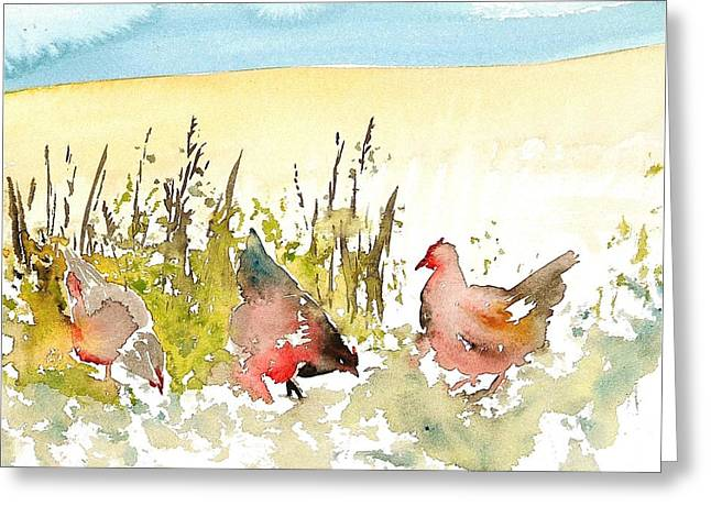Free Range Hens Greeting Cards - Free Range Greeting Card by Carolyn Doe