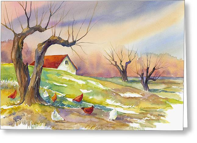 White Chicken Greeting Cards - Free Range Chickens Greeting Card by Peggy Wilson