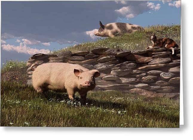 Barnyard Digital Greeting Cards - Free Range Pigs Greeting Card by Daniel Eskridge