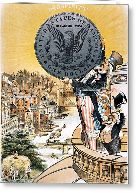 Gillam Greeting Cards - Free Silver Cartoon, 1890 Greeting Card by Granger