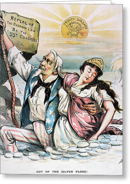 Dalrymple Greeting Cards - Free Silver Cartoon, 1893 Greeting Card by Granger