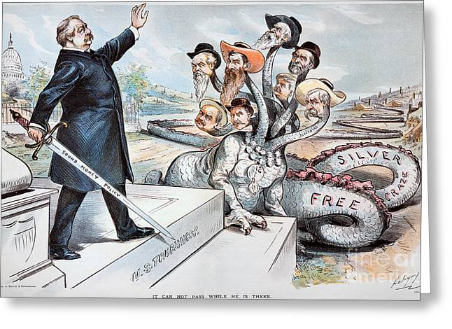 Dalrymple Greeting Cards - Free Silver Cartoon, 1895 Greeting Card by Granger