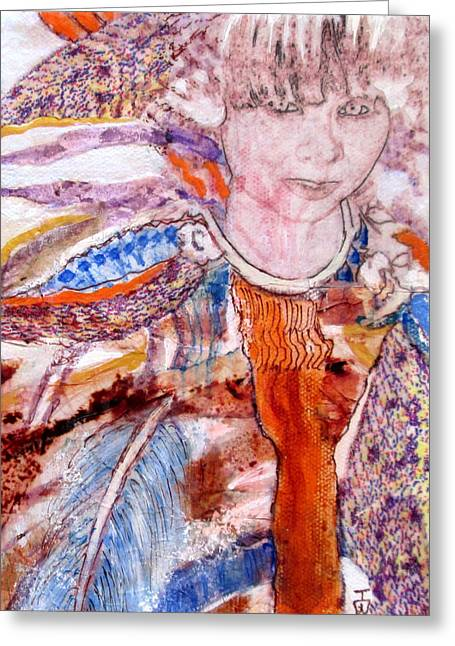 Portaits Mixed Media Greeting Cards - Free Spirit Greeting Card by Inge Wright