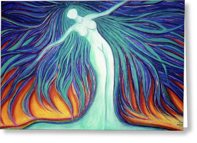 Unique Art Pastels Greeting Cards - Free Spirit Greeting Card by NARI - Mother Earth Spirit