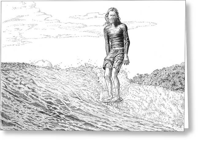 Surfer Drawings Greeting Cards - Free Surfer Greeting Card by John Hopson