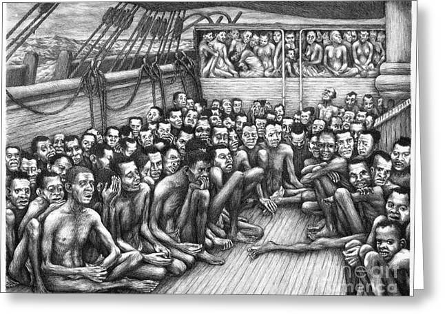 African American Man Drawings Greeting Cards - Freed Slave Ship Greeting Card by Granger