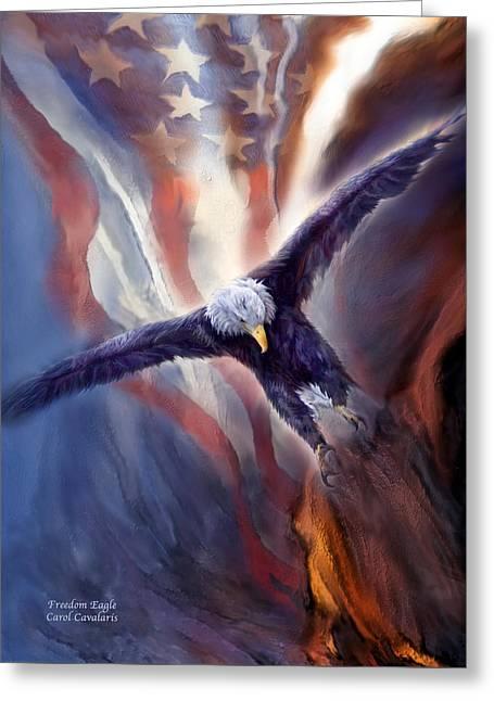 Eagle Mixed Media Greeting Cards - Freedom Eagle Greeting Card by Carol Cavalaris