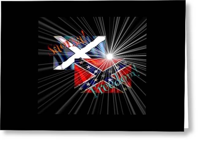 Confederate Flag Greeting Cards - Freedom fighters Greeting Card by Ruanna Sion Shadd a