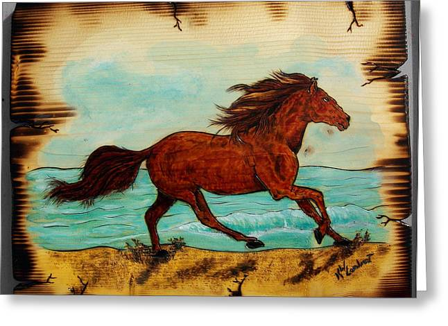 Woodburnings Pyrography Greeting Cards - Freedom Greeting Card by Kenneth Lambert