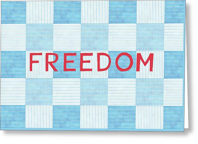 .freedom Mixed Media Greeting Cards - Freedom Patchwork Greeting Card by Linda Woods