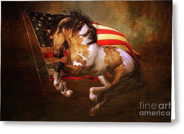 Wild Horse Greeting Cards - Freedom Run Greeting Card by Shanina Conway