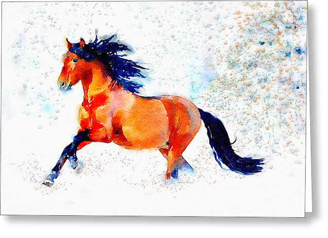 Bubbly Paintings Greeting Cards - Freedom Runner Greeting Card by Angela A Stanton