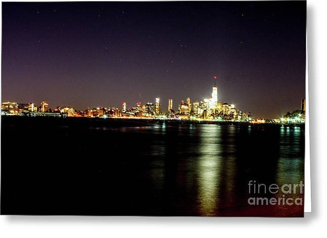 Freedom Tower With The Starry Sky Greeting Card by William Rogers