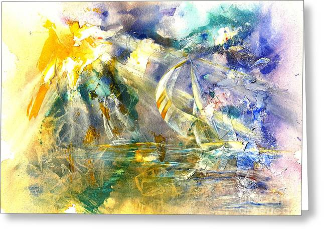 Recently Sold -  - Yellow Sailboats Greeting Cards - Freedoms Light Greeting Card by Art by Carol May