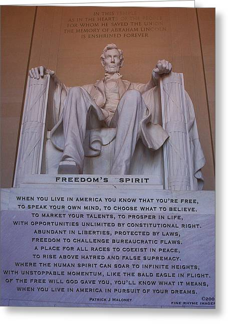 Lincoln Memorial Mixed Media Greeting Cards - Freedoms Spirit Greeting Card by Patrick J Maloney