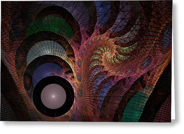 Fractal Orbs Greeting Cards - Freefall - Fractal Art Greeting Card by NirvanaBlues