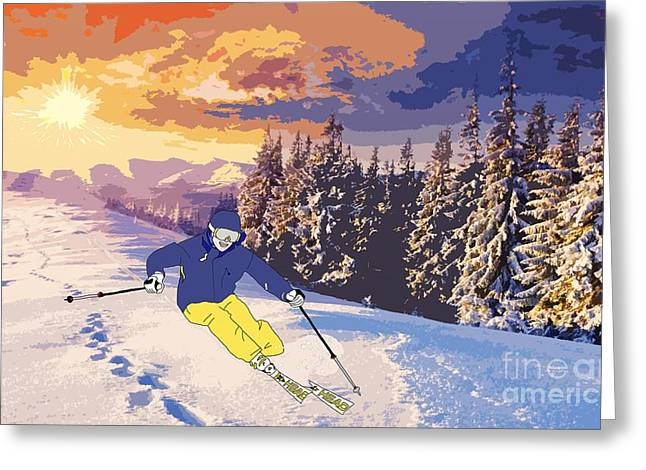Freestyle Skiing Greeting Cards - Freestyle Skiing Greeting Card by Priscilla Wolfe