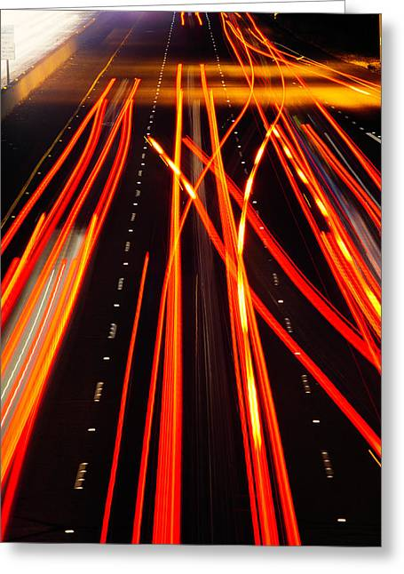 Freeway Tail Lights Greeting Card by Garry Gay